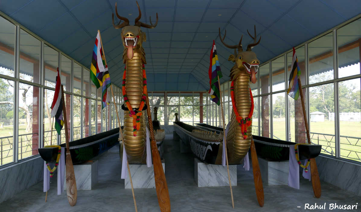 Image of traditional Manipuri Boat at Kangla Fort in Imphal, Manipur, India.